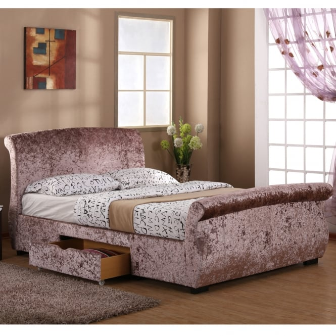 Harmony Regent 4ft6 Double Brown Rose Crushed Velvet Two Drawer Storage Bed