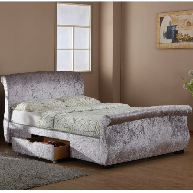 Harmony Regent 4ft6 Double Silver Crushed Velvet Two Drawer Storage Bed