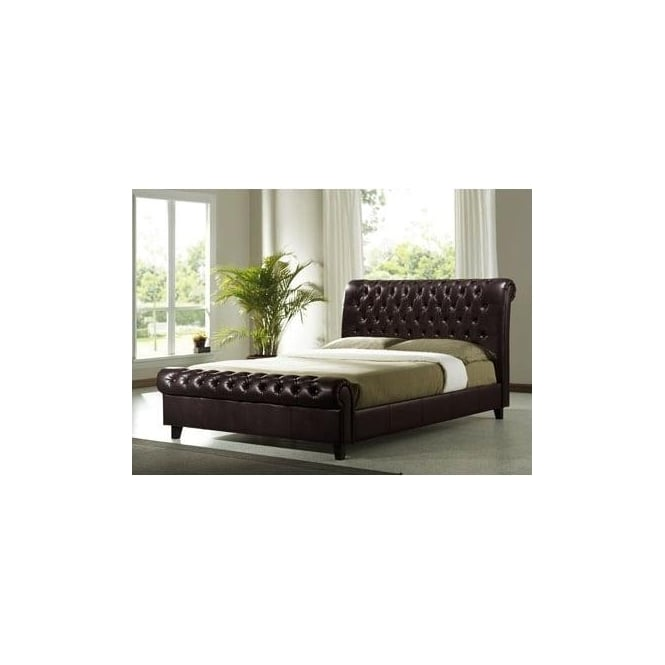 Time Living Richmond 6ft Super King Size Dark Brown Faux Leather Bed