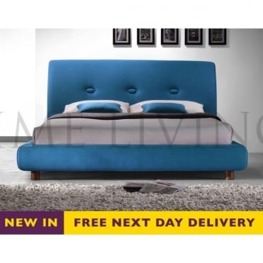 Sache 4ft6 Double Teal Fabric Bed