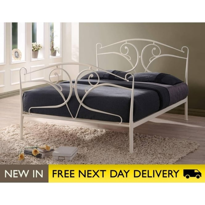 Seline 5ft King Size Ivory Metal Bed Cheapest Seline King Size Bed