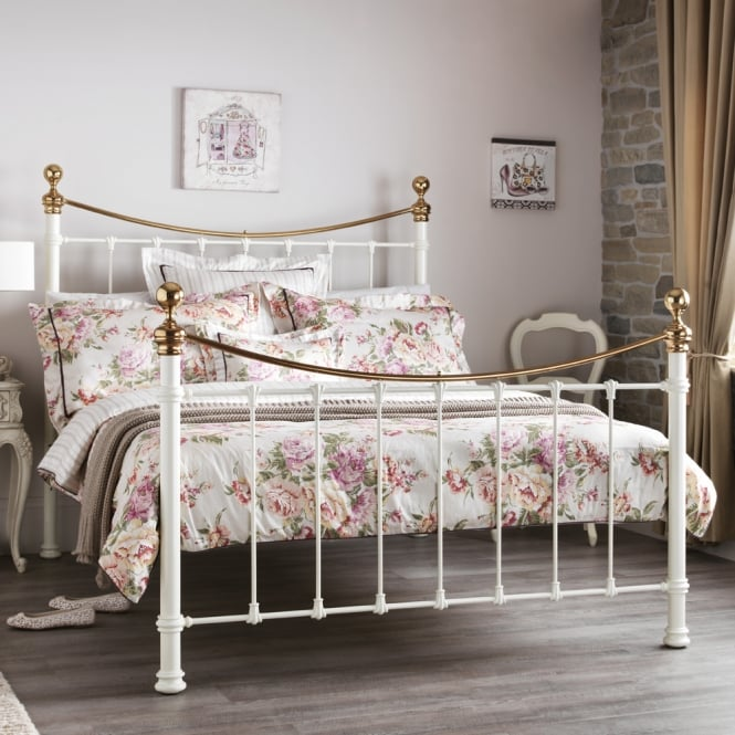 Serene King Size 5ft Ethan ETHA500IVBSBED Ivory Gloss and Brass Bedstead