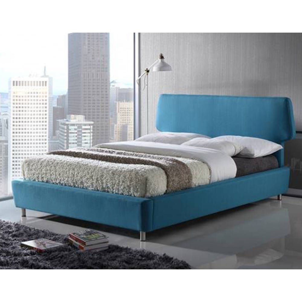 Awesome Blue Fabric Bed Part - 12: Time Living Exclusive Sienna 4ft6 Double Blue Fabric Bed