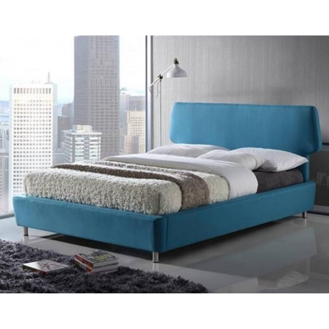 Time Living Exclusive Sienna 4ft6 Double Blue Fabric Bed