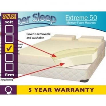 6ft Super King Size Extreme 50 Memory Foam Mattress
