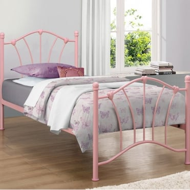 Sophia 3ft Single Pink Metal Bed