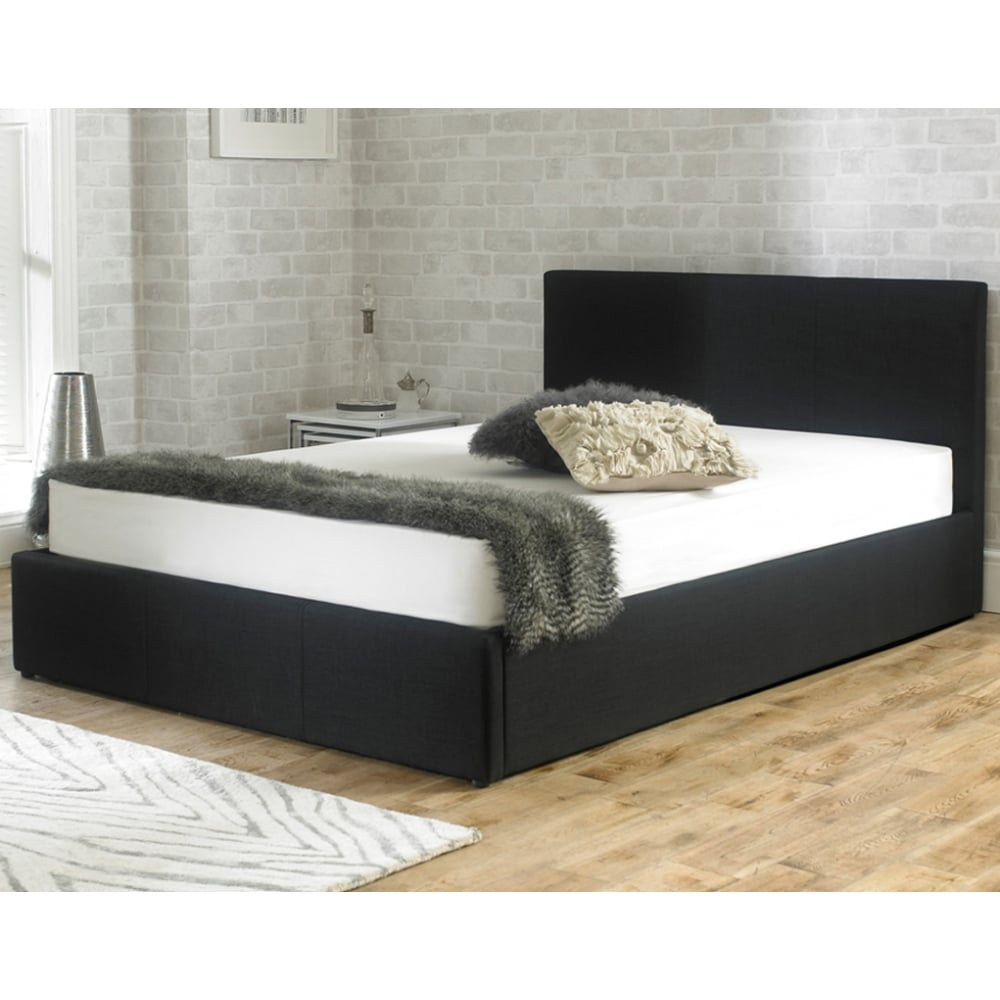 Emporia Stirling 4ft6 Double Black Fabric Ottoman Storage Bed