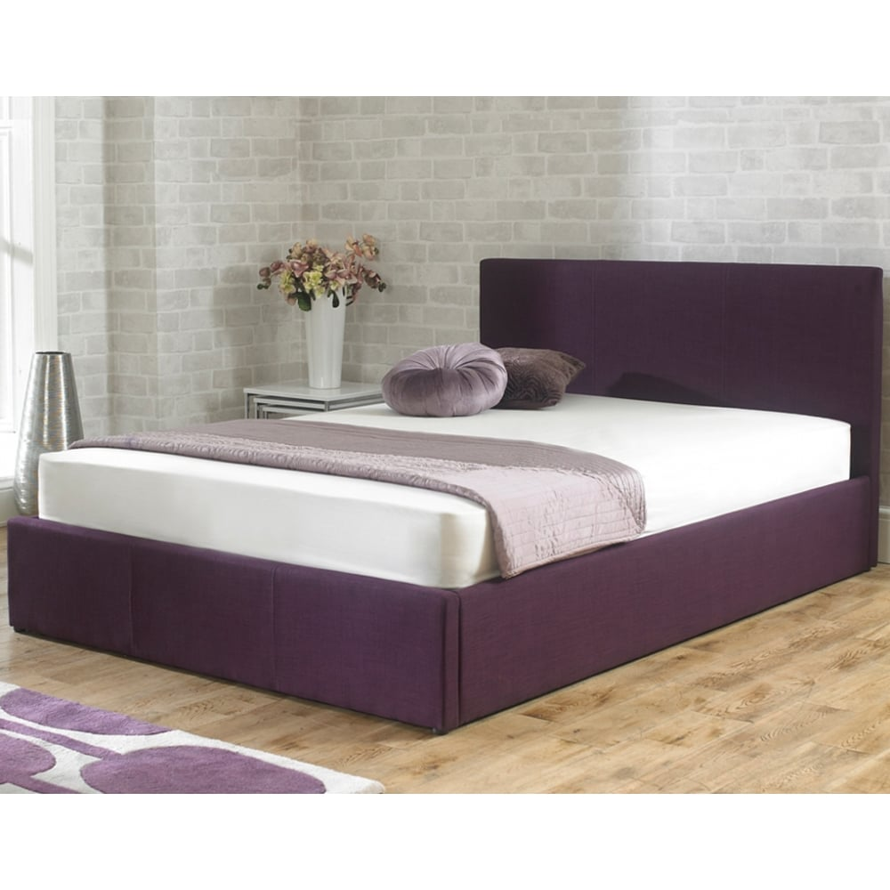 Cheapest Stirling 5ft King Size Plum Fabric Storage Bed From Bed Sos