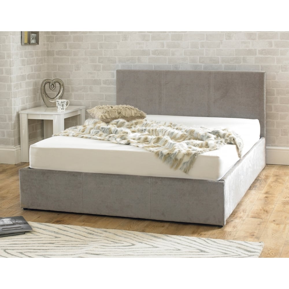 Stirling Ottoman 5ft King Size Stone Fabric Bed Cheapest