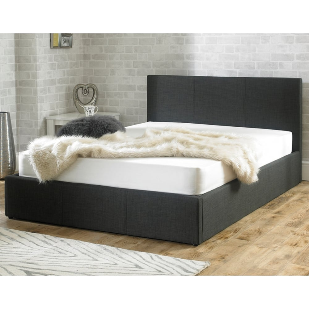Stirling ottoman 6ft super king size charcoal fabric bed for Super king size divan bed with storage