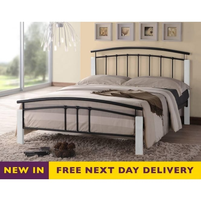 Time Living Tetras 4ft Small Double Black and White Metal Bed