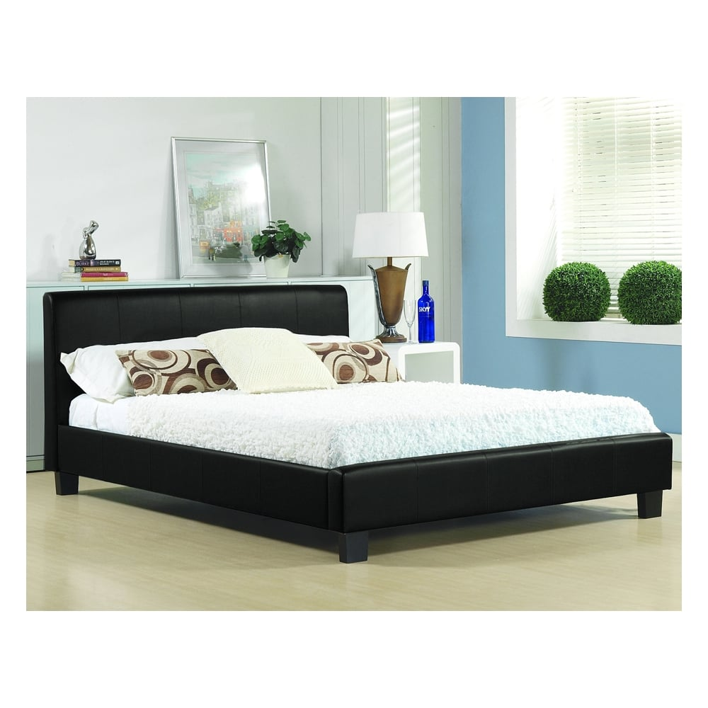Buy Black Single 3ft Bed Faux Leather Hamburg From Bedsos