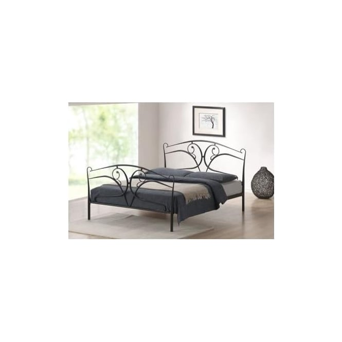 Time Living 4ft6 Double Bed Black Metal - Seline