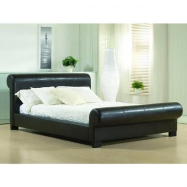4ft6 Double Bed Brown Faux leather - Valencia