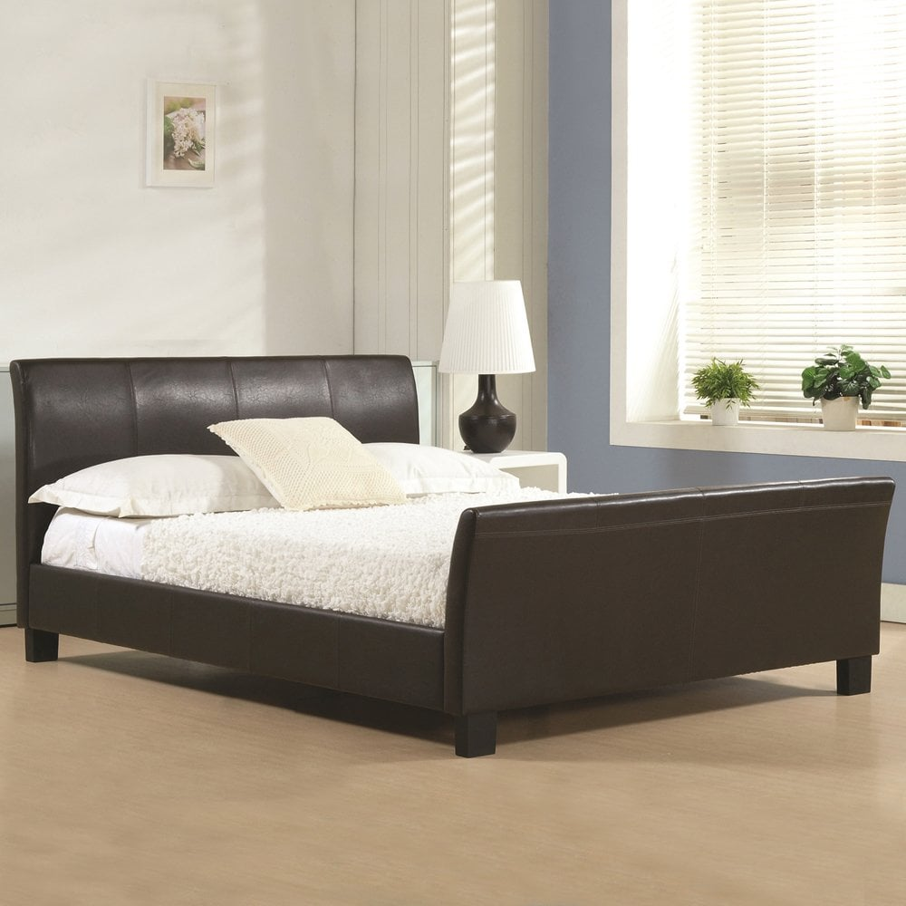 cozy fresh e740d 2c38d 4ft6 Double Bed Brown Faux leather - Winchester