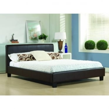4ft6 Double Bed Brown Real Leather - Hamburg