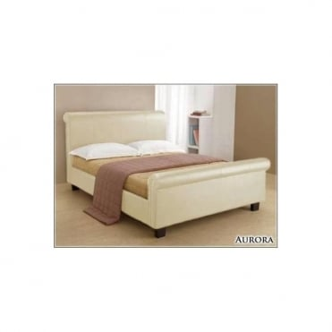 4ft6 Double Bed Cream Faux Leather – Aurora