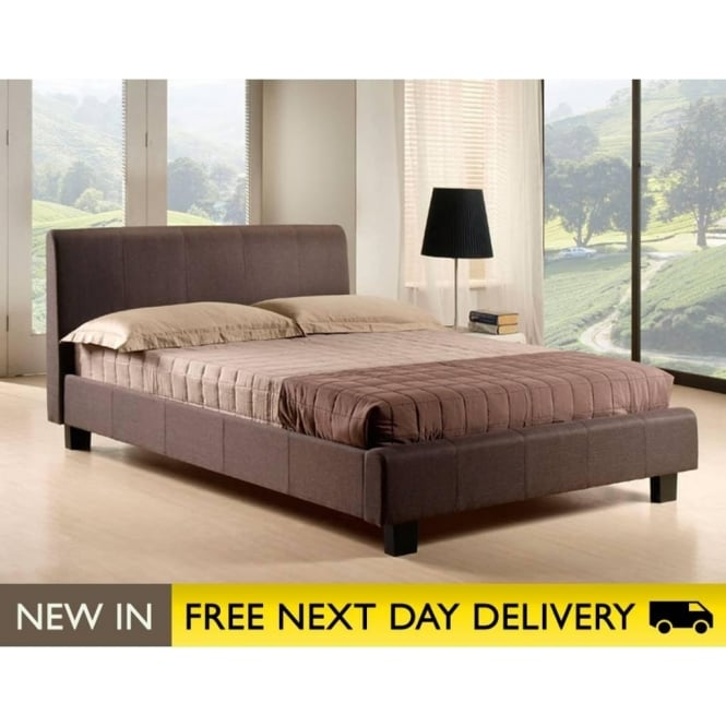 Time Living 4ft6 Double Hamburg Brown Fabric Bed