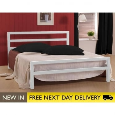 5ft City Block White Metal King Size Bed