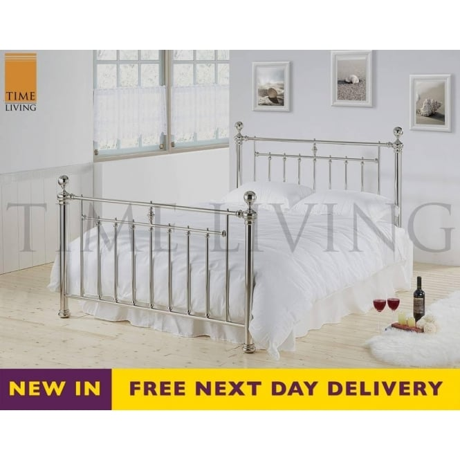 Time Living Exclusive Alexander 4ft6 Double Chrome Plated Metal Bed