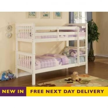 Devon 3ft Single White Wooden Bunk Bed