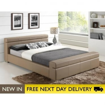 Durham Faux Leather Stone 4ft6 Double Bed