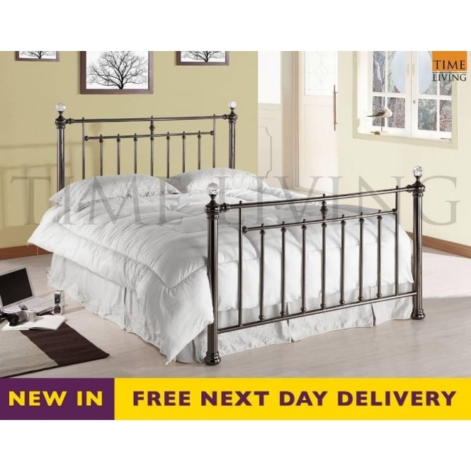 Time Living Exclusive Alexander Crystal 5ft Black Nickel King Size Bed