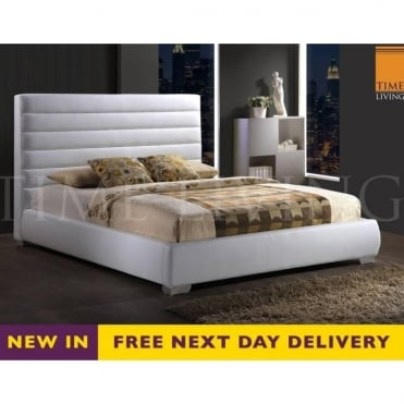 Chessington 4ft Small Double White Faux Leather Bed CHESS4WHT