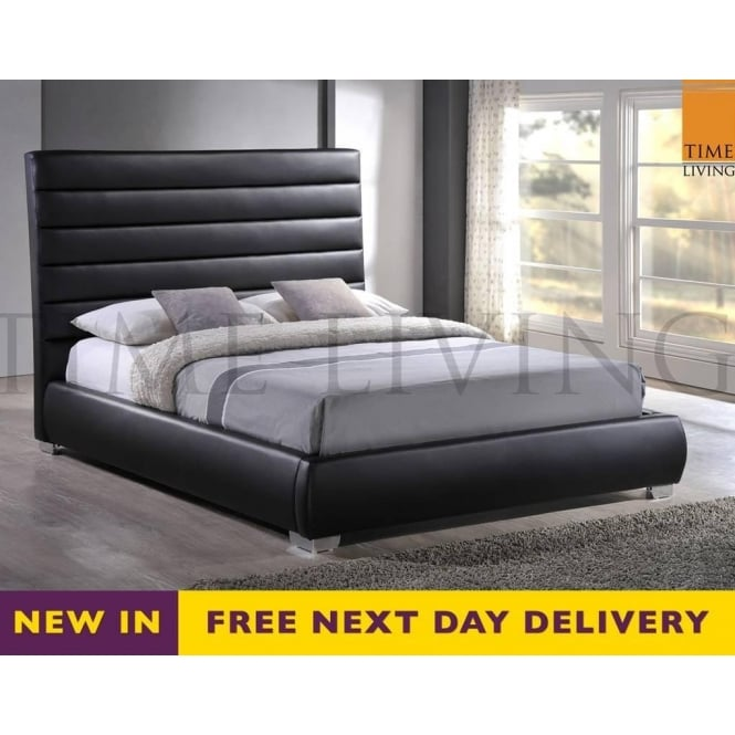 Time Living Exclusive Chessington CHESS46BLK 4ft6 Double Black Faux Leather Bed