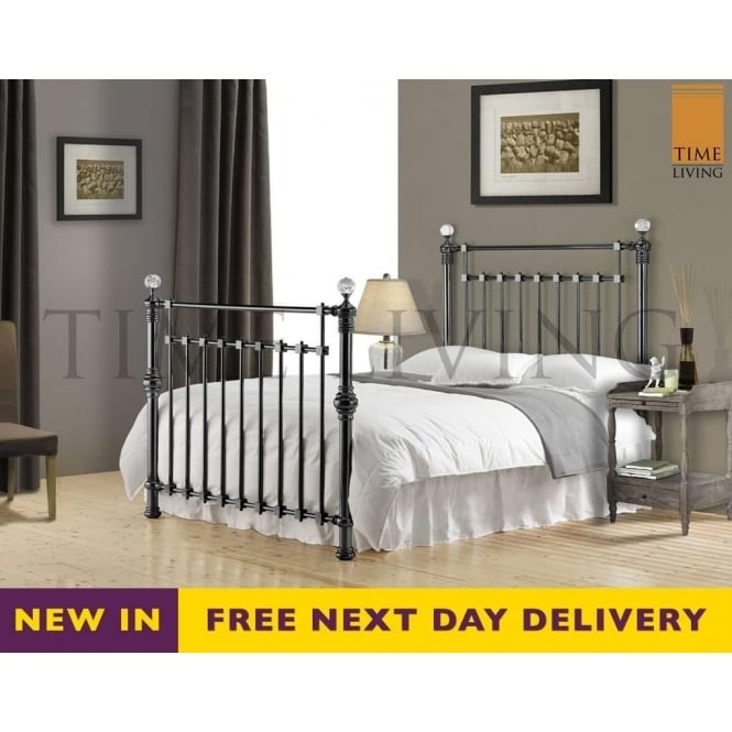 Time Living Exclusive Edward Crystal 4ft6 Double Black Nickel Bed