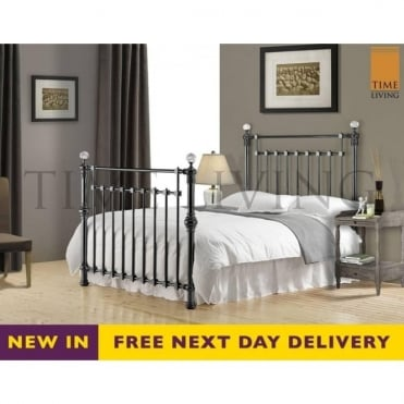 Edward Crystal 5ft King Size Black Nickel Metal Bed