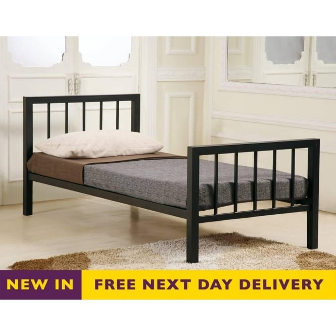 Time Living Metro 4ft6 Black Double Metal Bed