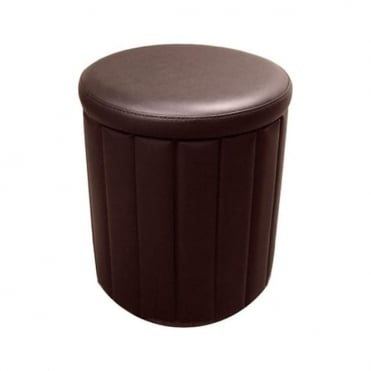 Milano Storage Stool Brown Faux Leather