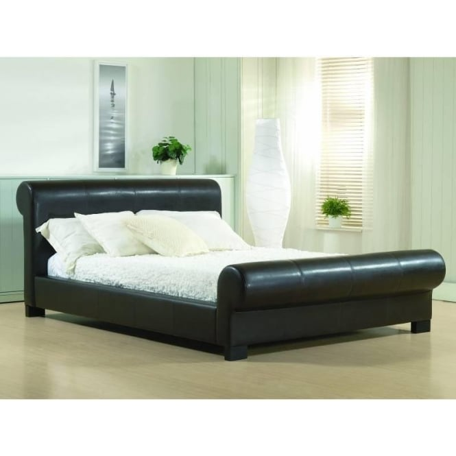 Time Living Valencia 5ft King Size Brown Faux Leather Bed