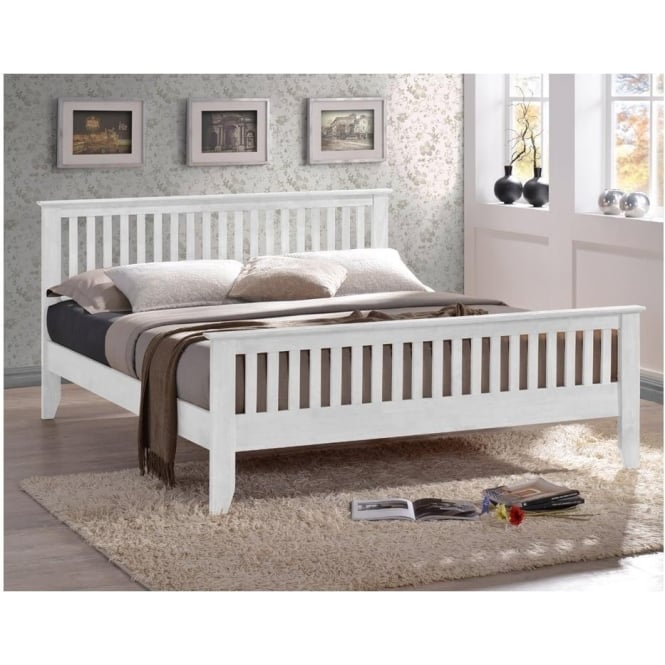 Time Living Exclusive Turin 4ft6 Double White Wooden Bed