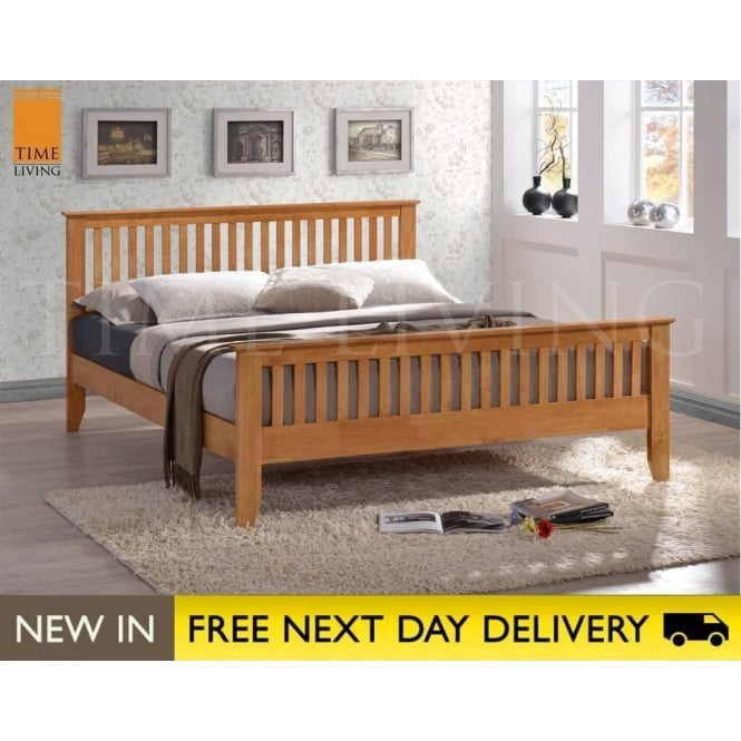 Time Living Exclusive Turin 4ft6 Honey Oak Double Wooden Bed TUR46