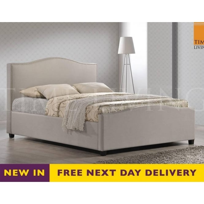 Time Living Exclusive Tuxford 5ft King Size Cream Fabric Bed