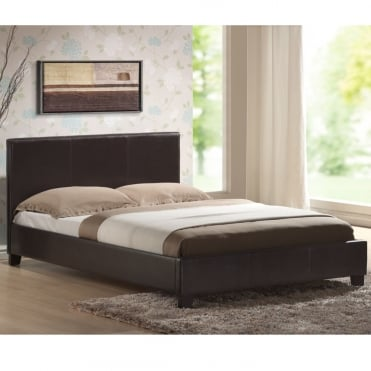 Venice 4ft Small Double Black Faux Leather Bed