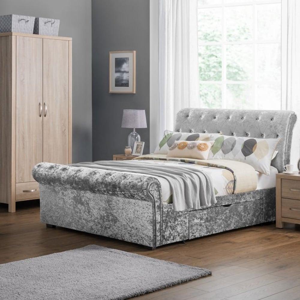 Verona 5ft King Size 2 Drawer Storage Silver Crushed Velvet Bed Ver102