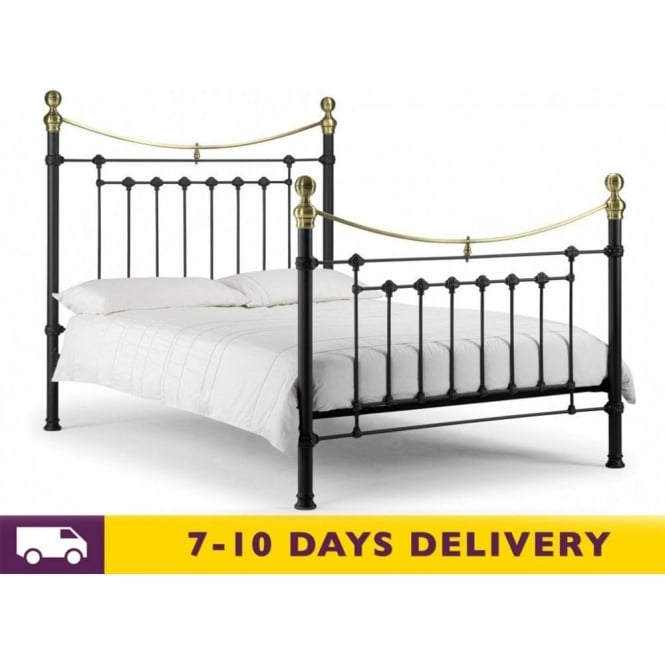 Julian Bowen Victoria 4ft6 Double Black Satin Metal Bed