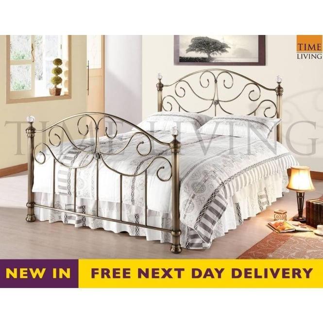 Time Living Exclusive Victoria Crystal 5ft King Size Brass Metal Bed