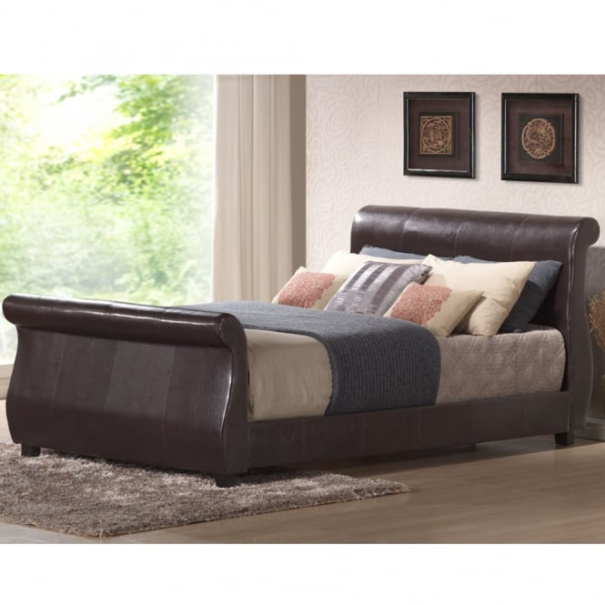 Harmony Winchester 4ft6 Double Brown Faux Leather Bed